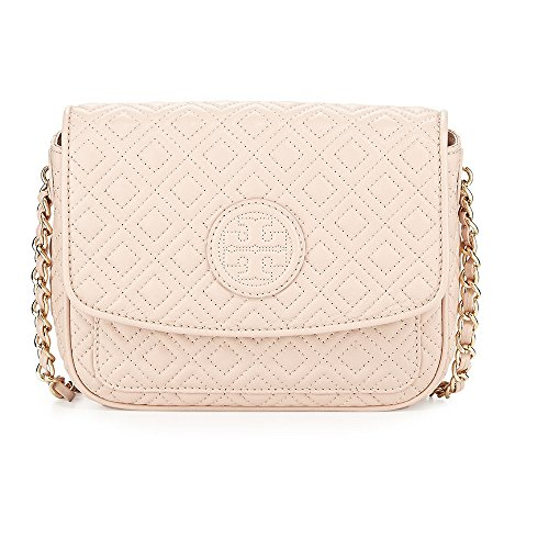 Tory Burch Marion Quilted Mini Crossbody Leather Bag Light OAK