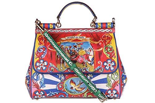 Dolce&Gabbana women's leather handbag shopping bag purse sicily dauphine red