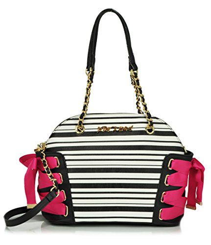 Betsey Johnson Of Corset Dome Satchel, Stripe