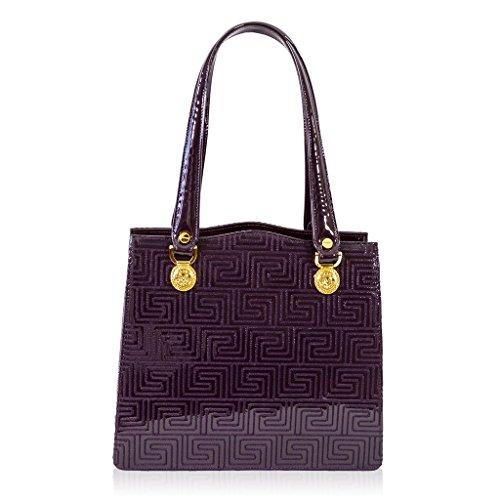 Valentino Orlandi Italian Designer Purple Greek Key Patent Leather Satchel Bag
