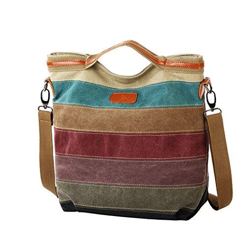 Snug Star Fashion Classic Striped Canvas Satchel Single Shoulder Bag Cross Body Bag Handbag for Women