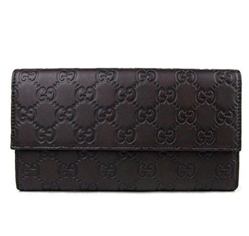 Gucci Women's Dark Brown Guccissima Leather Wallet Tri-fold Clutch 257303 2086