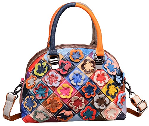 Heshe Matching Splicing Women's Shell Package Hobo Shoulder Tote Bags Handbag and Purse Cute Small Pocket with Multi-color Flowers