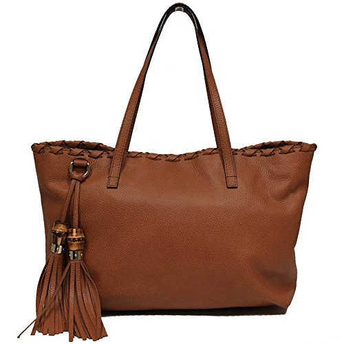 Gucci Saddle Brown Grain Leather Bamboo Tassel Shoulder Handbag 354665