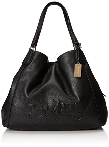 Coach 33727 Horse and Carriage Black Leather Large Edie Shoulder Bag