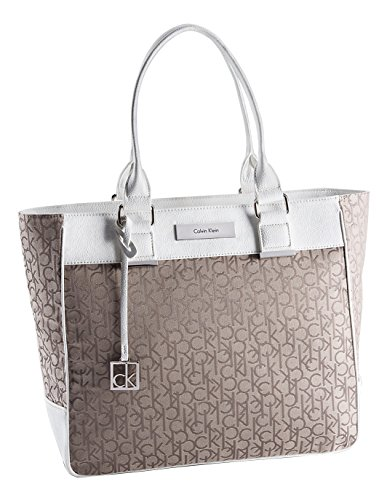 Calvin Klein Logo Jacquard Large Shopper Tote Bag Handbag Brown and White