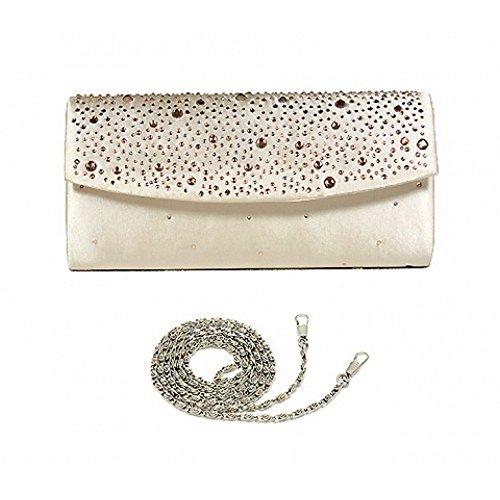 Evening Bag – Satin w/ Jeweled Flap – Beige