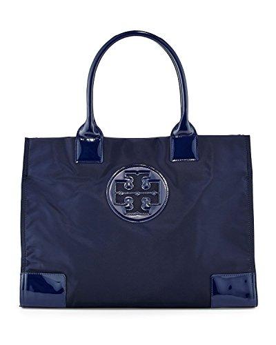 Tory Burch Ella Nylon Tote Patent Leather Bag Handbag French Navy