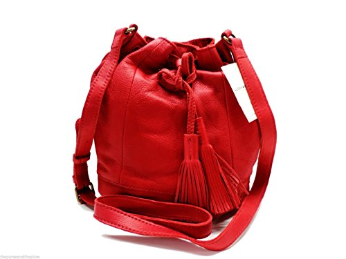 Lucky Brand Harper Bucket Bag Red Leather Shoulder Handbag