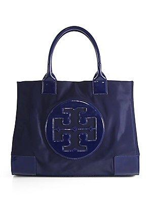 Tory Burch Ella Nylon Tote Patent Leather Bag Handbag French Navy Blue