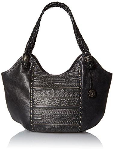 The Sak Indio Satchel Bag, Black Tribal Quilt, One Size
