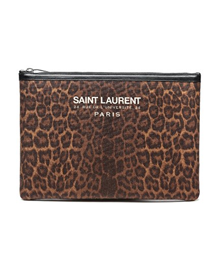 Wiberlux Saint Laurent Women's Logo Print Zip Top Clutch Bag