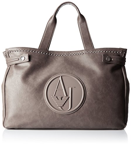 Armani Jeans Eco Leather Stud East West Tote Bag, Grey, One Size