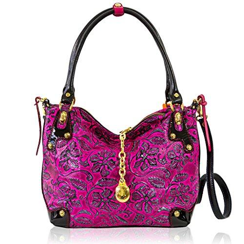 Marino Orlandi Italian Designer Fuchsia Rose Embossed Leather Purse Satchel Bag