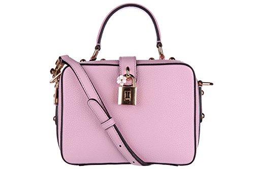 Dolce&Gabbana women's leather handbag shopping bag purse pinkria flower detail lock pink