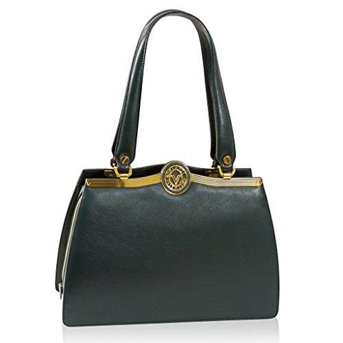 Valentino Orlandi Italian Designer Green Calfskin Leather Satchel Purse Bag