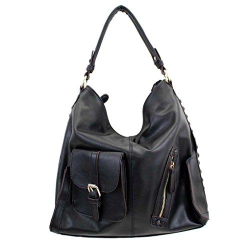 Tosca Black Faux Leather Purse Brown Trim & Studs Crossbody Hobo Shoulder Bag Satchel