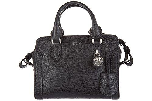 Alexander Mcqueen women's leather handbag shopping bag purse skull mini padlock black