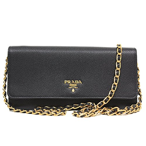 Prada Black Grain Leather Chain Cross-Body Wallet Clutch Handbag 1MT290
