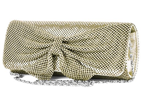Jessica McClintock Mesh Flap With Bow Evening Bag