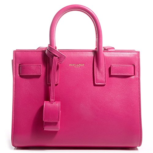 Saint Laurent Fuchsia Pink Calf Leather Classic Small Sac De Jour Satchel Bag 324823