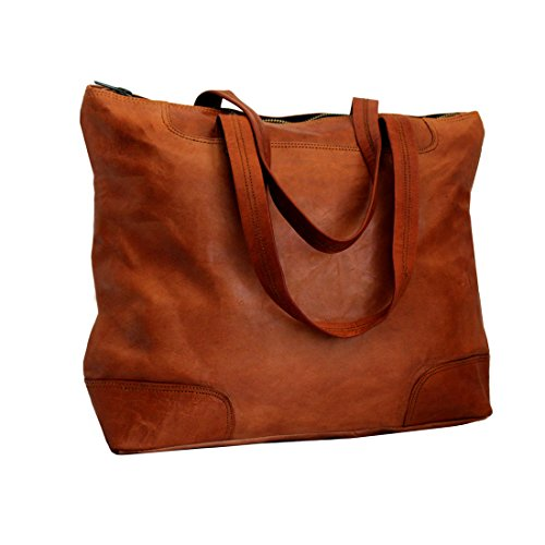 LUST Leather Women's Vintage Leather Handmade Crossbody Tote Bag Brown 15″ x 13″ Inch