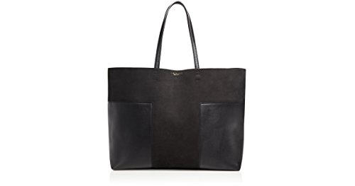 Tory Burch Block T Large Suede Tote, Black