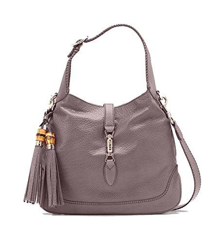 Gucci New Jackie Neutral Lavender Gray/Grey Textured Leather Hobo Bag Shoulder Handbag 246907