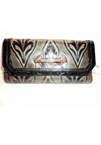 Brahmin Brahmin Genuine Leather Soft Checkbook Wallet Clutch Taupe/Black