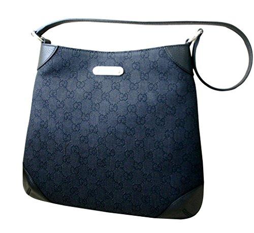 GUCCI Black Denim GG fabric Shoulder Bag Hobo 196140 1160