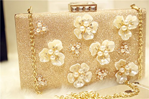 Floral Pearl Champagne Color Shining Women's Evening Bag Cocktail Party Bag Crossbody Handbag