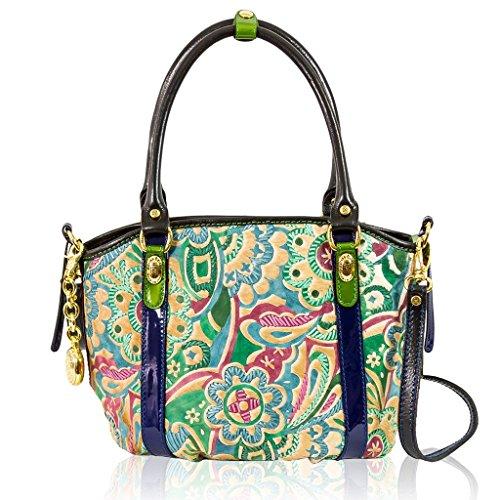 Marino Orlandi Italian Designer JAPA Floral Green Haircalf Purse Crossbody Bag