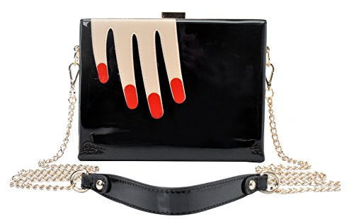 Vendula London Women Designer Evening Handbags Ladies Classic Nail Art Clutch – Black