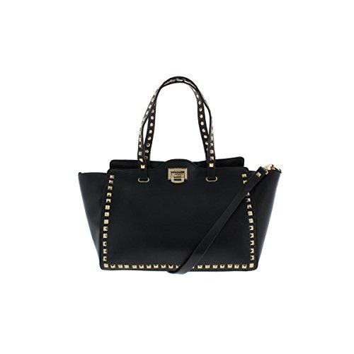 BCBG Paris Womens Faux Leather Studded Tote Handbag