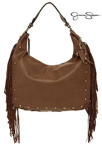 Jessica Simpson Neilson Fringe Trim Hobo Bag Purse Brown