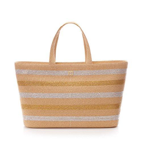 Eric Javits Designer Women's Handbag Sinclair Tote in Peanut/Gold/Silver