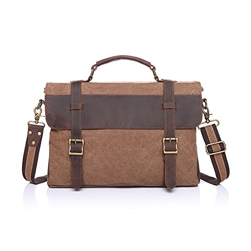 Sechunk Multifunction Cotton Canvas Leather Laptop Bag Messenger Bag Business bag Shoulder Bag Briefcase Bag School Bag Weekend Bag Computer Bag Working Bag Bookbag Crossbody Bag Satchel Bag