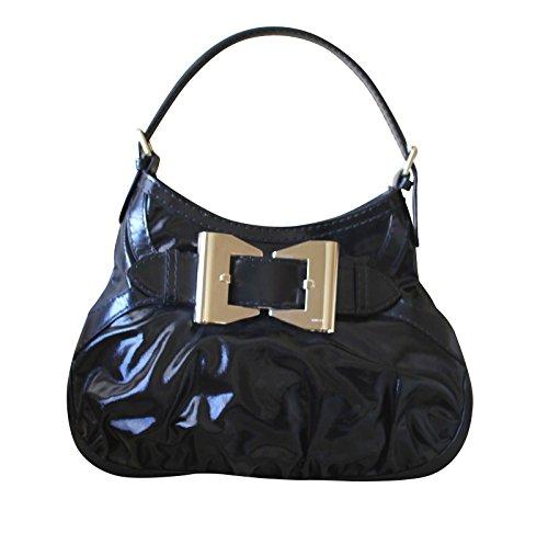 Gucci Women's Black Dialux Fabric Bow Shoulder Bag Queen Hobo Handbag