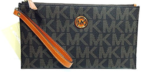 MICHAEL KORS FULTON LARGE ZIP CLUTCH/WRISTLET/ WALLET BROWN