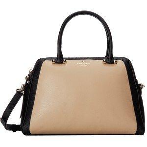 Kate Spade Charles Street Brantley Cashew Black Leather Satchel New