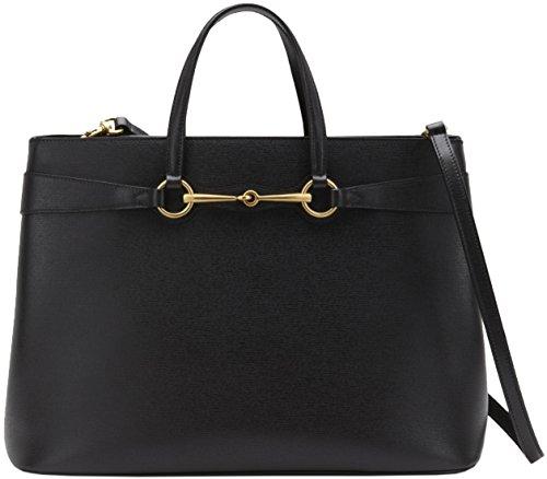 Gucci Black Leather Bright Horsebit Top Handle Large Satchel Tote Bag