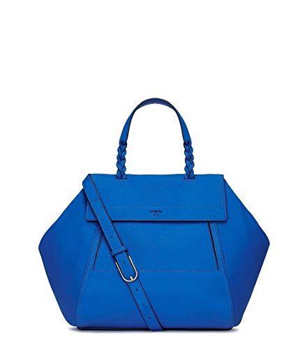Tory Burch Mini Half-Moon Leather Satchel Bondi Blue Handbag Bag