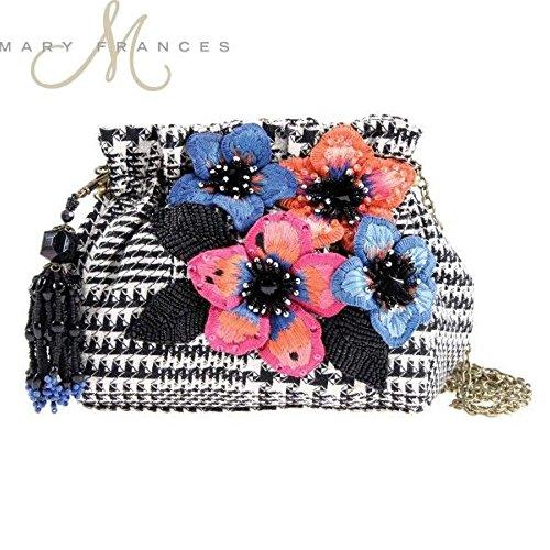 Mary Frances Tweed It Mini Beaded Jeweled Sequin Flower Handbag Shoulder Bag W/Tassel