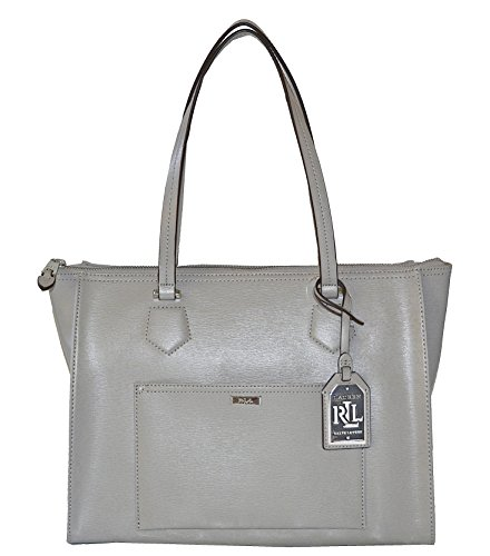LAUREN Ralph Lauren Leather Lowell Satchel Handbag Purse Dove Grey