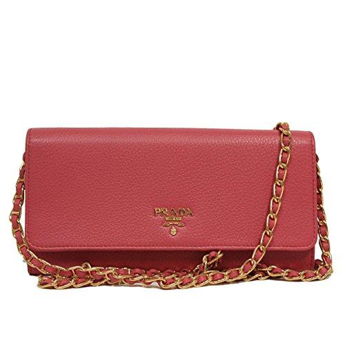 Prada Pink Grain Leather Chain Cross-Body Wallet Clutch Handbag 1MT290