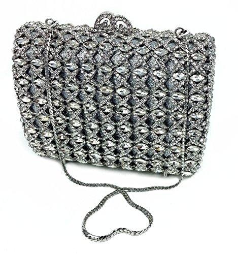 """Antoinette"" Marquise Cut Jewel Studded Designer Hard Case Clutch/Evening Purse."