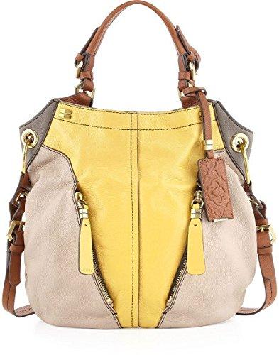 Oryany Victoria Multi Custard Yellow Beige Leather Victoria Colorblock Large Shoulder Bag