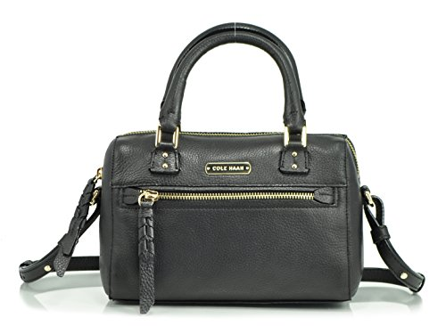 Cole Haan Small Duffle Leather Satchel, Black