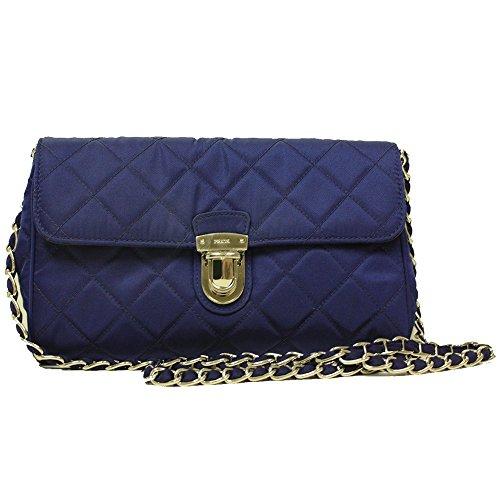 Prada Royal Blue Quilted Tessuto Nylon Saffiano Leather Chain Cross Body Handbag BP0584