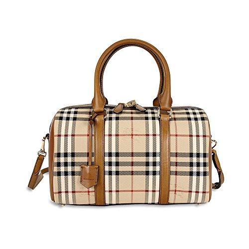 Burberry Medium Alchester Horseferry Check Bowling Bag – Honey/Tan